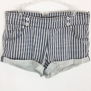 Free People Shorts 30 Blue White Vertical Striped